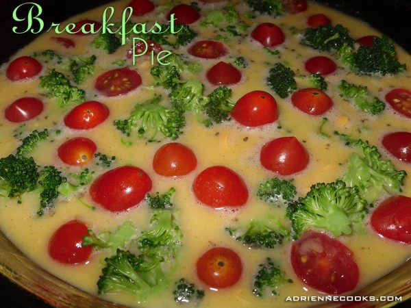Fresh Veggies in Breakfast Egg Pie